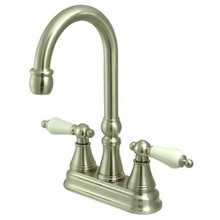 "Kingston Brass Two Handle 4"" Centerset Bar Faucet without Pop-Up Rod - Satin Nickel KS2498PL"