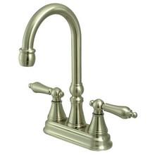 "Kingston Brass Two Handle 4"" Centerset Bar Faucet without Pop-Up Rod - Satin Nickel KS2498AL"