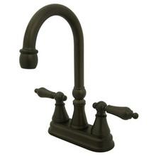 "Kingston Brass Two Handle 4"" Centerset Bar Faucet without Pop-Up Rod - Oil Rubbed Bronze KS2495AL"