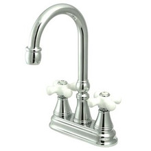 "Kingston Brass Two Handle 4"" Centerset Bar Faucet without Pop-Up Rod - Polished Chrome KS2491PX"