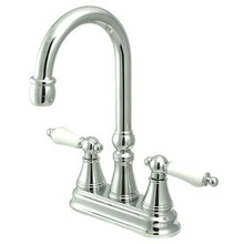 "Kingston Brass Two Handle 4"" Centerset Bar Faucet without Pop-Up Rod - Polished Chrome KS2491PL"