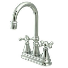 "Kingston Brass Two Handle 4"" Centerset Bar Faucet without Pop-Up Rod - Polished Chrome KS2491KX"