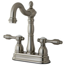 "Kingston Brass Two Handle 4"" Centerset Bar Faucet without Pop-Up Rod - Satin Nickel KB1498TAL"