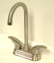 "Kingston Brass Two Handle 4"" Centerset Bar Faucet - Satin Nickel/Polished Chrome"