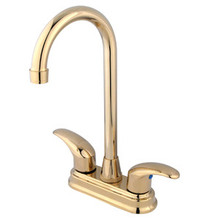 "Kingston Brass Two Handle 4"" Centerset Bar Faucet - Polished Brass KB6492LL"