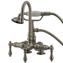 "Kingston Brass 3-3/8"" Deck Mount Clawfoot Tub Filler Faucet with Hand Shower - Satin Nickel"