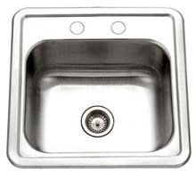 """Houzer Hospitality 1515-6BS-1 15"""" x 15"""" x 6"""" Bar Sink -Stainless Steel"""