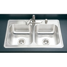 """Houzer 3322-9BS4-1 33"""" x 22"""" x 9"""" 50/50 Double Bowl Kitchen Sink - Four Holes - Stainless Steel"""