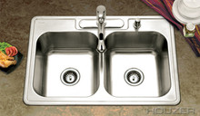 """Houzer 3322-9BS3-1 33"""" x 22"""" x 9"""" 50/50 Double Bowl Kitchen Sink - Three Holes - Stainless Steel"""
