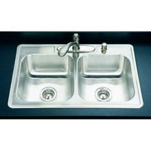 """Houzer 3322-8BS4-1 32"""" X 22"""" X 8"""" Double Bowl Kitchen Sink - Four Holes - Stainless Steel"""