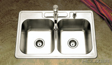 """Houzer 3322-8BS3-1 32"""" X 22"""" X 8"""" Double Bowl Kitchen Sink - Three Holes - Stainless Steel"""
