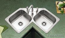 """Houzer Legend LCR-3221-1 31-7/8"""" X 31-7/8"""" 50/50 Double Corner Bowl Kitchen & Strainer - Stainless Steel"""