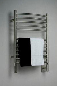 """Amba Jeeves ECB-20 Model E 20-1/2"""" W x 31"""" H  Curved Electric Heated Towel Warmer - Brushed Stainless"""