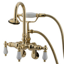 "Kingston Brass 3-3/8"" - 9"" Adjustable Center Wall Mount Clawfoot Tub Filler Faucet with Hand Shower - Polished Brass CC305T2"