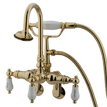 "Kingston Brass 3-3/8"" - 9"" Adjustable Center Wall Mount Clawfoot Tub Filler Faucet with Hand Shower - Polished Brass CC303T2"