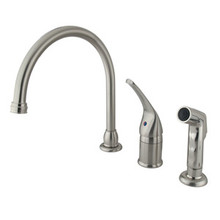 Kingston Brass Single Handle Kitchen Faucet & Non-Metallic Side Spray - Satin Nickel KB828