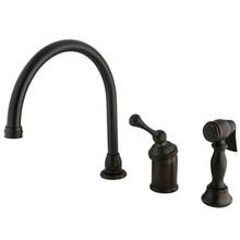 Kingston Brass Single Handle Kitchen Faucet & Brass Side Spray - Oil Rubbed Bronze KB3815BLBS