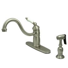 Kingston Brass Single Handle Kitchen Faucet & Brass Side Spray - Satin Nickel KB1578PLBS