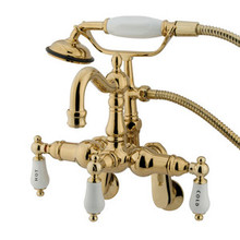 "Kingston Brass 3-3/8"" - 9"" Adjustable Center Wall Mount Clawfoot Tub Filler Faucet with Hand Shower - Polished Brass CC1303T2"