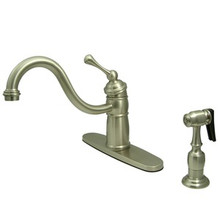 Kingston Brass Single Handle Kitchen Faucet & Brass Side Spray - Satin Nickel