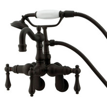 "Kingston Brass 3-3/8"" - 9"" Adjustable Center Wall Mount Clawfoot Tub Filler Faucet with Hand Shower - Oil Rubbed Bronze"