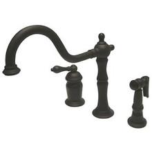 Kingston Brass Single Handle Deck Mount Widespread Kitchen Faucet & Brass Side Spray - Oil Rubbed Bronze
