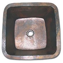 "LinkaSink C006 DB 3 1/2"" Drain Small 16"" Square Lav Copper Sink - Dark Bronze"