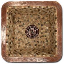 "Linkasink V008 SN 16"" Square Copper Mosaic Lav Sink - Drain Included - Satin Nickel"