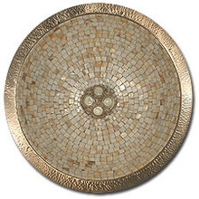 "Linkasink V007 SN 16"" Round Copper Mosaic Lav Sink - Drain Included - Satin Nickel"