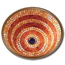"Linkasink V001 DB Small 14"" Round Mosaic Lav Sink - Drain Included - Dark Bronze"