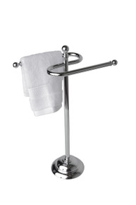Valsan 53507CR Essentials Free Standing Double Guest Towel Holder Rail - Chrome