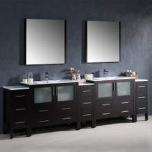 """Fresca FVN62-108ES-UNS Torino Double Sink Bathroom Vanity & 3 Side Cabinets & Integrated Sinks & Faucets 108""""W - Espresso"""