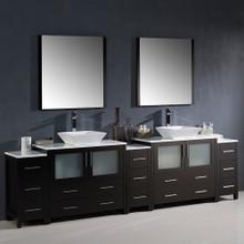 "Fresca FVN62-108ES-VSL Torino Double Sink Bathroom Vanity with 3 Side Cabinets & Vessel Sinks & Faucets 108""W x 35.63""H - Espresso"