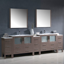 """Fresca FVN62-108GO-UNS Torino Double Sink Bathroom Vanity & 3 Side Cabinets & Integrated Sinks & Faucets 108"""" W - Gray Oak"""
