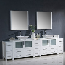 """Fresca FVN62-108WH-VSL Torino Double Sink Bathroom Vanity with 3 Side Cabinets & Vessel Sinks & Faucets 108"""" W - White"""