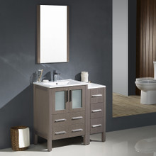 """Fresca FVN62-2412GO-UNS Torino Bathroom Vanity with Side Cabinet & Integrated Sinks & Faucets 36"""" W - Gray Oak"""