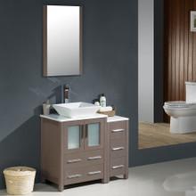 """Fresca FVN62-2412GO-VSL Torino Bathroom Vanity with Side Cabinet & Vessel Sink & Faucet 36"""" W - Gray Oak"""