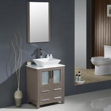"Fresca FVN6224GO-VSL Torino Bathroom Vanity with Vessel Sink & Faucet 24"" W - Gray Oak"