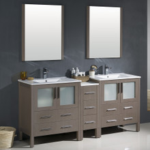 """Fresca FVN62-301230GO-UNS Torino Double Sink Bathroom Vanity with Side Cabinet & Integrated Sinks & Faucets 72"""" W - Gray Oak"""