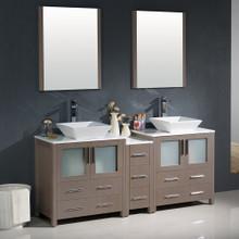 """Fresca FVN62-301230GO-VSL Torino Double Sink Bathroom Vanity with Side Cabinet & Vessel Sinks & Faucets 72"""" W - Gray Oak"""