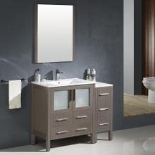 """Fresca FVN62-3012GO-UNS Torino Bathroom Vanity with Sink & Faucet & Side Cabinet & Integrated Sink 42"""" W - Gray Oak"""