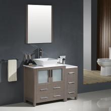 """Fresca FVN62-3012GO-VSL Torino Bathroom Vanity with Side Cabinet & Vessel Sink & Faucet 42"""" W - Gray Oak"""