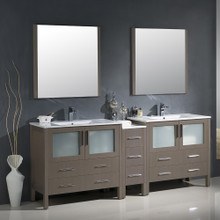 "Fresca FVN62-361236GO-UNS Torino Double Sink Bathroom Vanity with Side Cabinet & Integrated Sinks & Faucets 83.5"" W - Gray Oak"