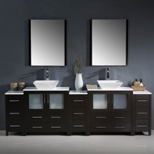 "Fresca FVN62-96ES-VSL Torino Double Sink Bathroom Vanity with 3 Side Cabinets & Vessel Sinks & Faucets 96"" W - Espresso"