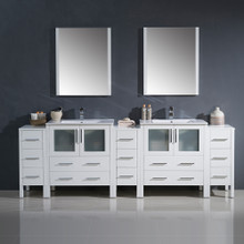 "Fresca FVN62-96WH-UNS Torino Double Sink Bathroom Vanity & 3 Side Cabinets & Integrated Sinks & Faucets 96"" W - White"