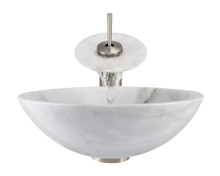 """Aurora S01 White Snow Granite Vessel Sink with Brushed Nickel Faucet & Grid Drain - 16.5"""" x 16.5"""""""