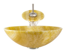 """Aurora S04 Yellow Honey Onyx Vessel Sink with Brushed Nickel Faucet & Grid Drain - 16.5"""" x 16.5"""""""