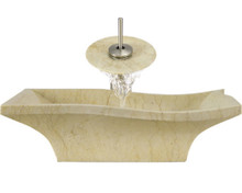 """Aurora S10 Yellow Marble Vessel Sink with Brushed Nickel Faucet & Grid Drain - 19.75"""" x 15"""""""
