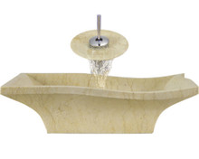 """Aurora S10 Yellow Marble Vessel Sink with Chrome Faucet & Grid Drain - 19.75"""" x 15"""""""