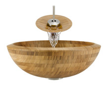 "Aurora B01 Natural Bamboo Vessel Sink with Brushed Nickel Faucet & Grid Drain - 16.5"" x 16.5"""